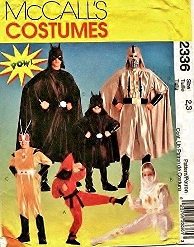 OOP McCall's Costume Pattern P219 or 2336. Childs Sz 2/3 Ninja; Caped Super Hero; Etc Costumes ()