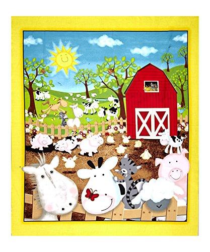 Quilting Treasures QT Fabrics Animal Farm 35in Panel, (Farm Panel)