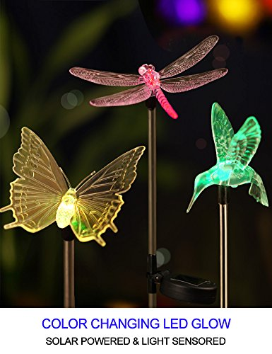 Bright Zeal B3Z [Set of 3] LED Color Changing Solar Stake Yard Lights Outdoor - Solar Light LED Garden Decor Statues Butterfly/Dragonfly/Hummingbird - Patio Figurines Lights Landscape Butterfly's by Bright Zeal