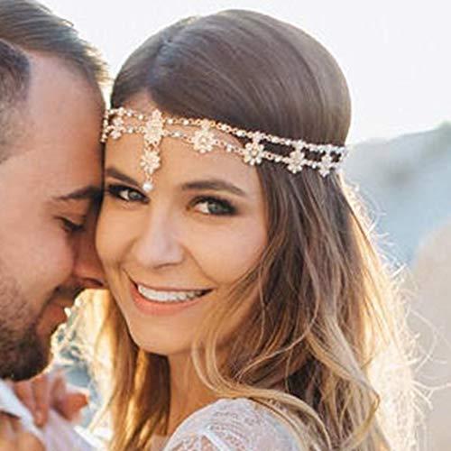 Barogirl Hair Jewelry Head Chain Wedding Bohemian Floral Headband Elastic for Women and Girls (Rose Gold)