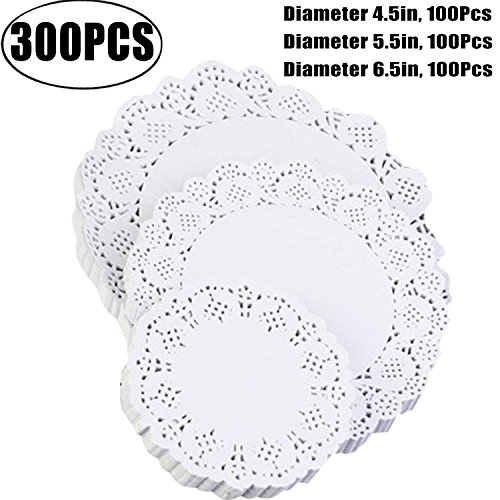 Coxeer Christmas Paper Doilies, 300Pcs Disposable White Doilies Round Lace Food Doilies for Cakes, Desserts, Baked Treat Display, Ideal for Formal Event Decoration, Tableware Décor,Cake Packaging