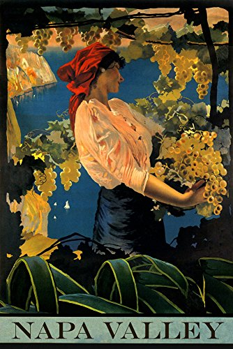 CANVAS Lady Girl Napa Valley California Finest Wine Grapes Three Travel Tourism Vintage Poster Repro 24
