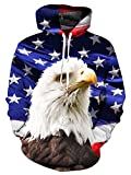 Leapparel Mens' American Eagle Graphic Hoodies Funny 3D Printed Sportwear Pullover XXL