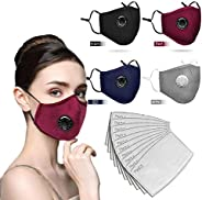 Face Bandanas Cotton With Activated Carbon Filter Replaceable Filters Haze Dust(4PC+10filters)
