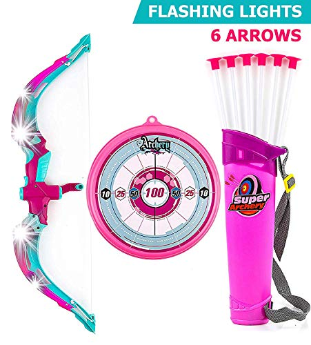 Toysery Bow and Arrow for Kids with LED Flash Lights - Archery Bow with 6 Suction Cups Arrows, Target, and Quiver - Practice Outdoor Toys for Children Above 6 Years of Age, Pink