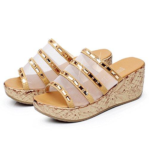 Btrada Femmes Mode Plates-formes Cales Sandales Anti-dérapant Été Chaussures De Pente Extérieure Jaune