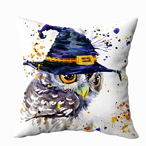 - ROOLAYS Decorative Throw Square Pillow Case Cover 20X20Inch,Cotton Cushion Covers Halloween Halloween owl Witch hat Watercolor Both Sides Printing Invisible Zipper Home Sofa Decor Pillowcase