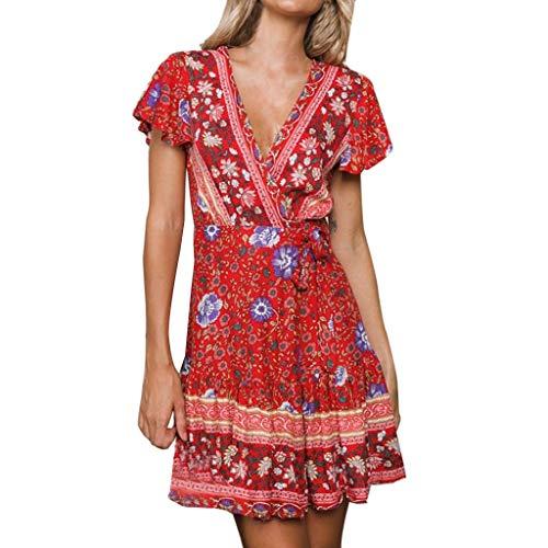 Vestido Manga Corta Para Rojo Sexy Nacional Verano Bohemio Estampado Mujer Con qtwrHI6t7