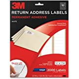 3M Permanent Adhesive Return Address Labels, 0.5 x 1.75 Inches, White, 2000 per Pack (3200-R)