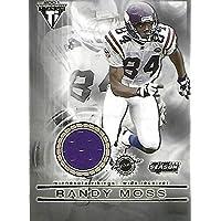 $25 » Randy Moss 2001 Titanium Post Season Vikings Football Game Worn Jersey Card #62 - Unsigned NFL Game Used Jerseys