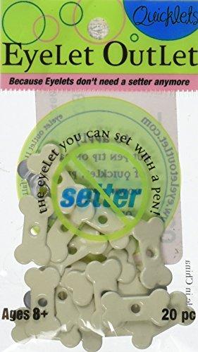 EYELET OUTLET Quicklets No-Setter-Needed Eyelets Shapes, Dog Bone, 20-Pack
