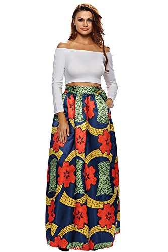 VIGVOG Women's Ethnic Plus-Size African Print Pull-on Maxi A-line Skirt (XL, LC65008-22)