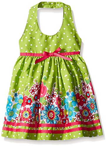 Blueberi Boulevard Cotton Sundress - Blueberi Boulevard Baby Floral Border Halter Sundress, Lime, 18 Months