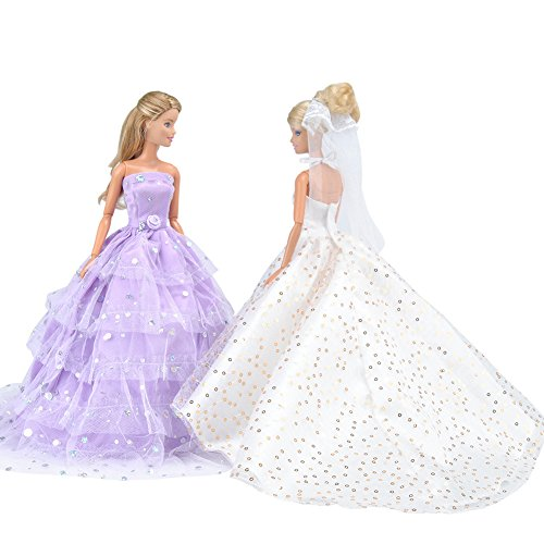 Bride Doll Clothes (E-TING Sequin Gown, 2 pcs Princess Dress, Beautiful Bride Clothing with Veil and Scarf, Handmade Doll Party Dresses Ball Clothes for Barbie Dolls)