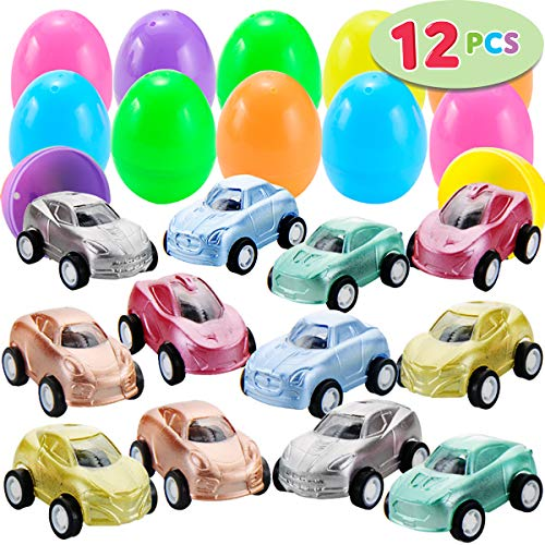12 Pcs Filled Easter Eggs with Toy Cars, 2.25