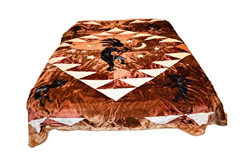 (V's Signature Collection 96x72 Kokopelli Tribal Luxury Super Soft Medium Weight Queen/Full Size Mink Blanket 1ply )