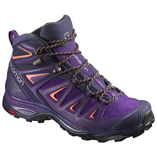 Salomon Women's X Ultra 3 Mid GTX Boots Acai/Evening Blue/Living Coral 12