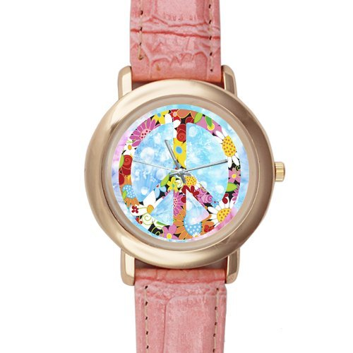 Gifts for girls or ladies Beautiful Peace Day Flowers Pink Leather Alloy High-grade Watch