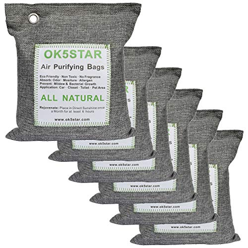 OK5STAR Breathe Green Charcoal Bags Air Purifying Bags 6x500g, Formaldehyde Cigarette Odor Remover Eliminator Absorber, Bamboo Charcoal Bags Air Freshener Deodorizer for Car and Home Closet