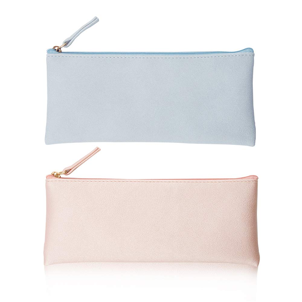 PU Leather Pencil Cases Pouch Bag with Zipper,Small Simple Pencil Pouches, Makeup Pouch, Cosmetic Pouch (Blue+Pink)