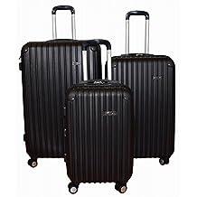 Kemyer Series 700 Hardside Luggage Spinner Wheeled Suitcase 29, 25 & 20 inch, 3 pc set Black