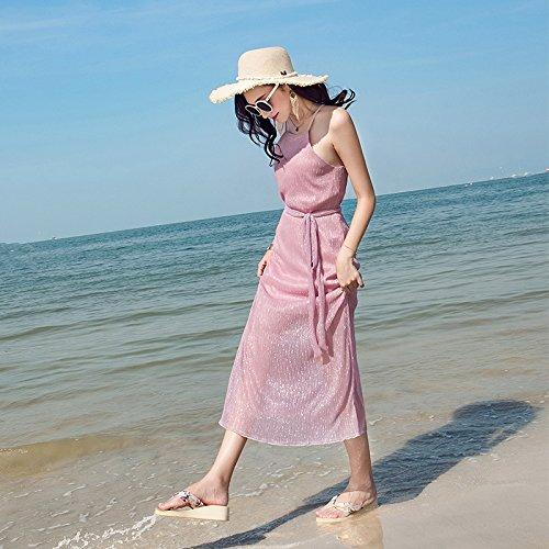 Falda Verano La De Respaldo Playa RONG Sin Pink Beach Falda En XIU Vestido XOtvF