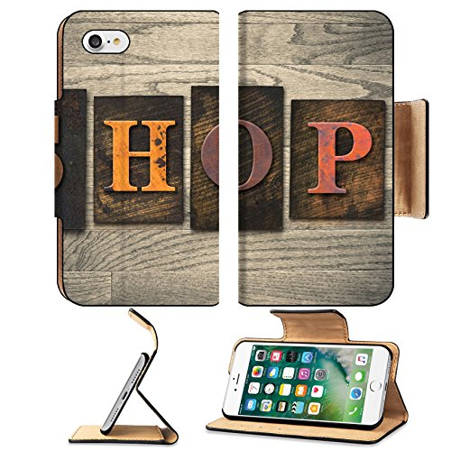 Luxlady Premium Apple iPhone 7 Flip Pu Leather Wallet Case iPhone7 IMAGE ID: 35334575 The word SHOP written in wooden letterpress - Outlet Factory Card Coupons