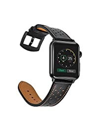 Mifa Apple Watch band Leather 38mm 42mm Bands iwatch series 1 2 3 Replacement strap dressy classic buckle vintage Black Stainless Steel Adapters Brown Black