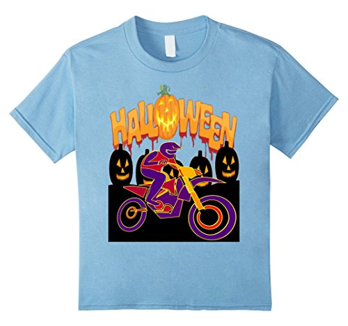 Kids Funny Motocross Bike Halloween Costume T-Shirt 12 Baby Blue