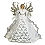 Silver Diamond Tufted Angel 17 inch Plush Christmas Tree Topper Figurine Decoration