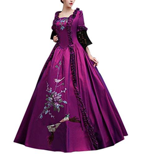 Ladies Medieval Renaissance Victorian Dresses Masquerade Costumes Queen Ball Gown Purple