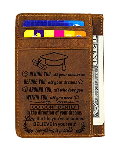 Engraved Leather Wallet Card Holder Wallet Inserts Personalized Gifts To Son Dad Husband Boyfriend (Card holde r- Graduation gift)
