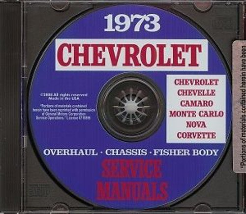 COMPLETE & UNABRIDGED 1973 CHEVROLET REPAIR SHOP & SERVICE MANUAL CD INCLUDES: all Chevy Bel Air, Caprice Classic, Impala,...