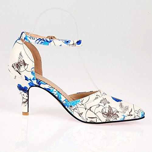 Toe Pumps Pointed MissSaSa Damen Knöchelriemchen klassisch Schnalle Blau Stoffdruck high heel 7TqCP