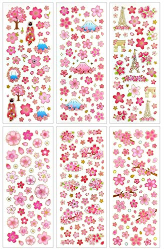 (Sakura Stickers 6 Sheets with Cherry Tree Mount Fuji Geisha Kinds of Japanese Cherry Blossoms Stickers Decal Pink - 300 Pieces )