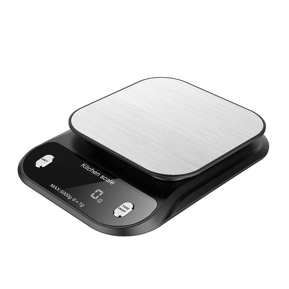 Junyuan Digital Kitchen Scale,Multifunction Highly Accurate Food Scale, 11lb/5kg 0.001oz/0.1g Increment Jewelry Weight Compact Scale-LCD Display,Easy to Clean,Batteries Included (Black 1g Increment)