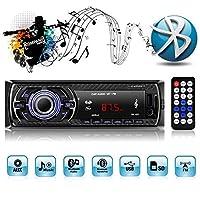 Auto Radio MP3, Autoradio USB/SD/AUX Receiver mit Bluetooth USB/SD/Audio-Empfänger/MP3-Player/UKW-Radio von Kidcia Apple iPod/iPhone Control, Freisprechfunktion und integriertes Mikrofon Standard Einbaugröße Digitaler Medienempfänger