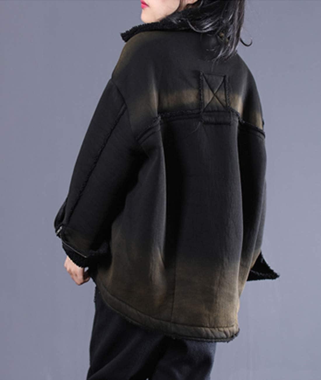 YESNO WS2 Women Casual Loose BF Fleece Jacket Fashion Warm Outerwear Full Zip Distressed//Pocket