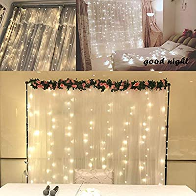 Ever Smart Curtain Lights, USB Powered 300 LEDs Warm White String Lights for Bedroom, 9.8x9.8Ft Waterproof & 8 Modes Fairy String Lights