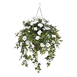 House of Silk Flowers Artificial White Morning Glory in Square Hanging Basket 43