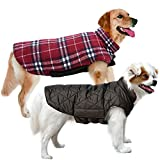 MIGOHI Dog Jackets for Winter Windproof Waterproof Reversible Dog Coat for Cold Weather British Style Plaid Warm Dog Vest for Small Medium Large Dogs, X-Large