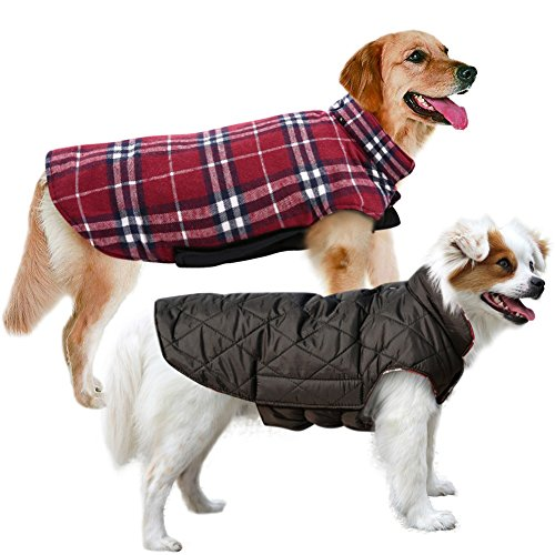 MIGOHI Dog Jackets for Winter Windproof Waterproof Reversible Dog Coat for Cold Weather British Style Plaid Warm Dog Vest for Small Medium Large Dogs, Large - Sweater Vest Dog