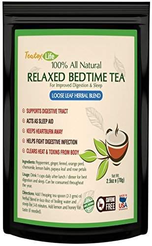 Stress Relief Tea for Calming Bed Time| Anxiety Relief Sleep Tea for Headache Relief & Sleep Aid for Adults - Sleepytime Chamomile Tea with Lemon Balm, Fennel, Rose Petals - 70 grams | Made in USA