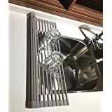 Tranye Solid Silicon + Stainless Steel Roll-up Dish Drying Rack Square 18 Racks, Over the Sink Dish Drainer, Cooling Mat, Collapsible & Portable / Grey /Unlike Other Cheap Hollow Mental or Round Designs