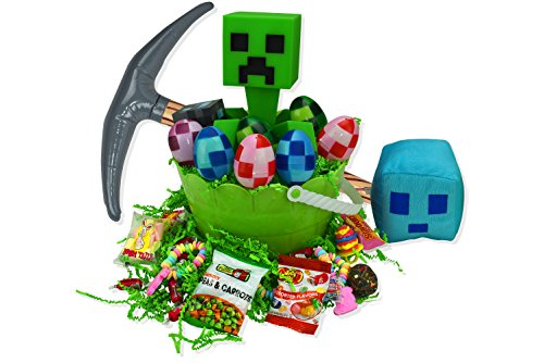 Minecraft Easter Basket For Kids With Minecraft Official Vinyl Character, Pixel Easter Eggs And Candy Perfect For Easter Egg (Filled Vinyl)