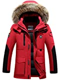 Menschwear Men's Faux Fur Hooded Down Jacket Parka Windbreak Heavy Coat (XL,Red)