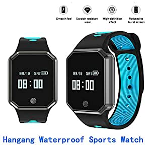 Hangang Smart Watch 0.95 Inch LED Metal Fashion Wristband IP67 waterproof Smart pedometer hands-free phone Support Blood Pressure Heart Rate Monitoring Detachable Watch for IOS /Android-(Blue)