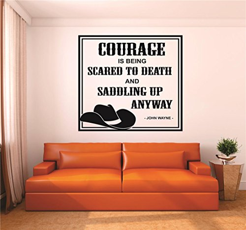 "Design with Vinyl RAD V 347 3 Courage Is Being Scared To Death & Saddling Up Anyway John Wayne Quote Cowboy Cowgirl Western Home Decor Decal, 20"" x 20"", Black"