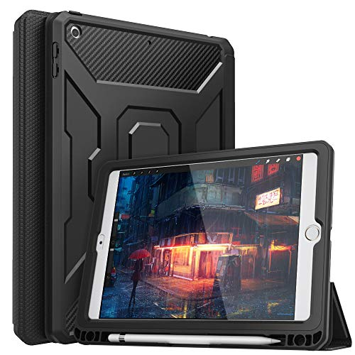 MoKo Case Fit 2018/2017 iPad 9.7 6th/5th Generation, [Built-in Screen Protector] Full-Body Shockproof Case Smart Shell Trifold Stand Cover with Auto Sleep/Wake & Pencil Holder - Black
