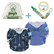 Newborn Premiee Bamboo Organic Reusable Cloth Diapers –Set of 2 –Breathable Waterproof Cover –Bonus Pacifier Clip –Perfect Baby Shower Gift(Pack of 2, Blue)